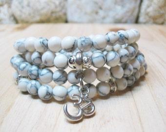 108 Mala Beads Howlite Bracelet 108 Mala Necklace Om Bracelet Wrist Mala Yoga Necklace Meditation Bracelet Yoga Bracelet Om Mala Yoga Mala