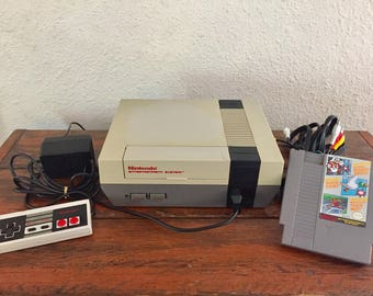 Original Nintendo Console Package with Hookups, 1 Controller and 1 Game, Super Mario Bros/Duck Hunt/World Class Track Meet/Tested and Works!