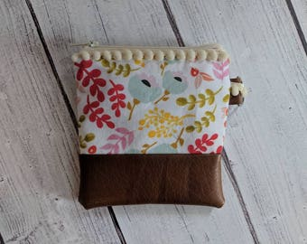 Floral coin pouch - change purse - keychain - spring -