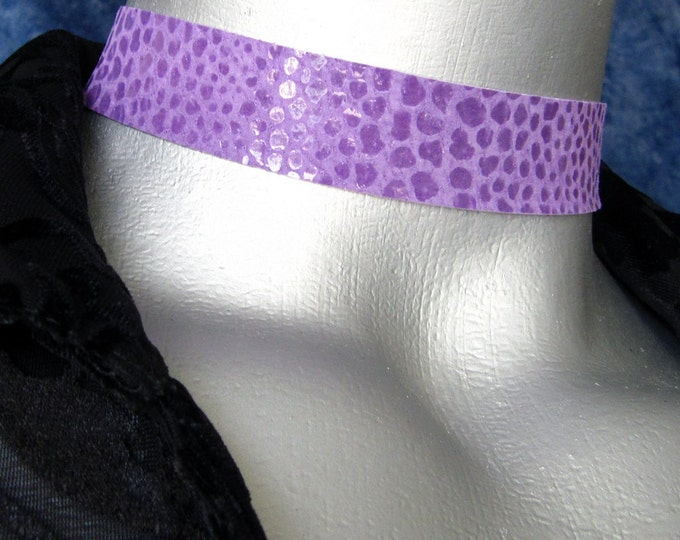 Shimmer Snake Purple, Black or Red Suede Leather Choker