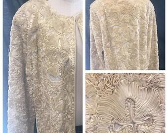 35% Off Sale Vintage Creme silk ribbon beaded bridal spring boudoir jacket XXL 1970