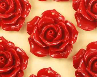 6 Red Lucite Rose Pendants