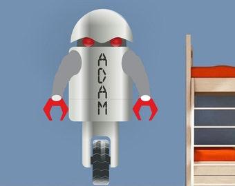 Robot Decal, Personlized Robot Decal, Robot Wall Decal, Robot Wall Design, Kid's Robot Decal, Nursery Robot Wall Sticker, Kid's Robot, n69