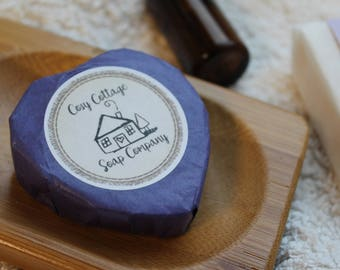 Four Lovely Lavender Heart-shaped Guest Soaps