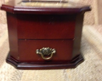 Re-Done It wood jewelry box with hinged lid and drawer