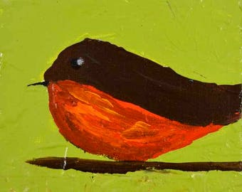 Acrylic Bird Painting. Miniature Baby Robin Painting. Green Home Wall Art Decor. Art Painting. Gift for Her. 147
