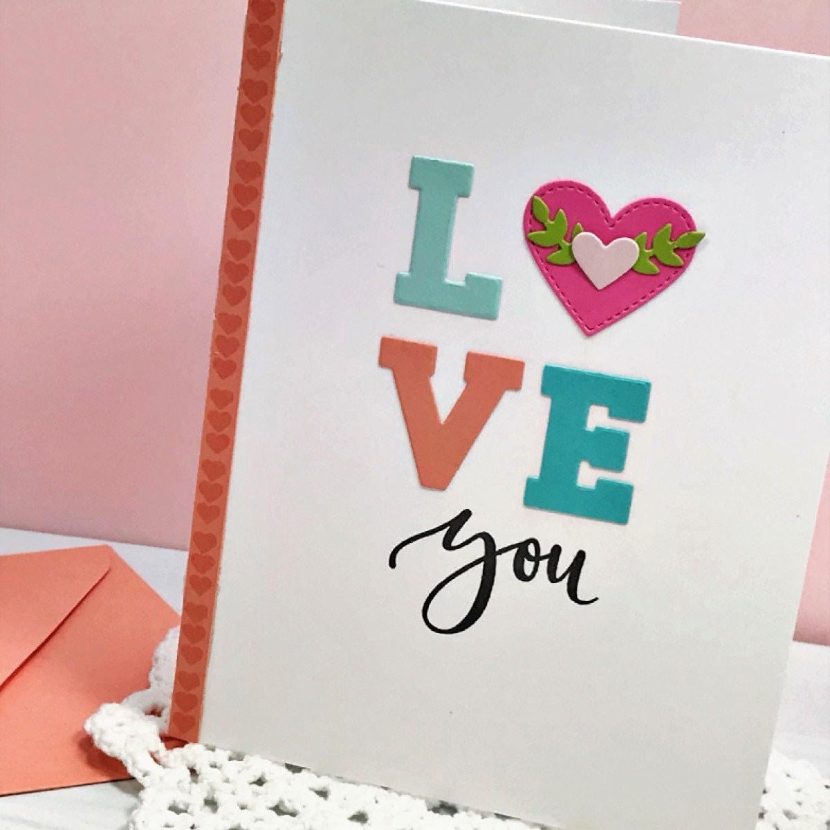 Love You Handmade Card Love Greeting Card Handstamped Card