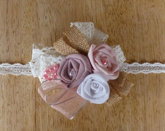 Flower bracelet for bride in Burlap and fabric