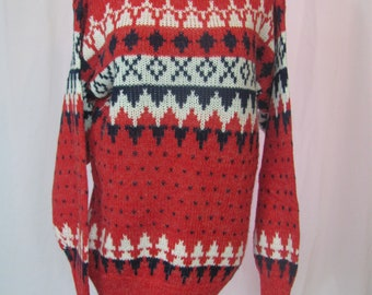 Vintage Oversized Cozy Knit Bold Print Pullover Sweater Retro Sweater