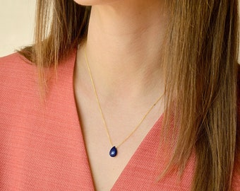 Lapis Lazuli Necklace in Gold, Rose Gold or Sterling Silver, Royal Blue Crystal Necklace, Gemstone Drop Necklace, healing stone