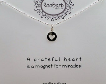 Heart Charm Necklace; Round, Cut-Out Heart Charm - Sterling Silver