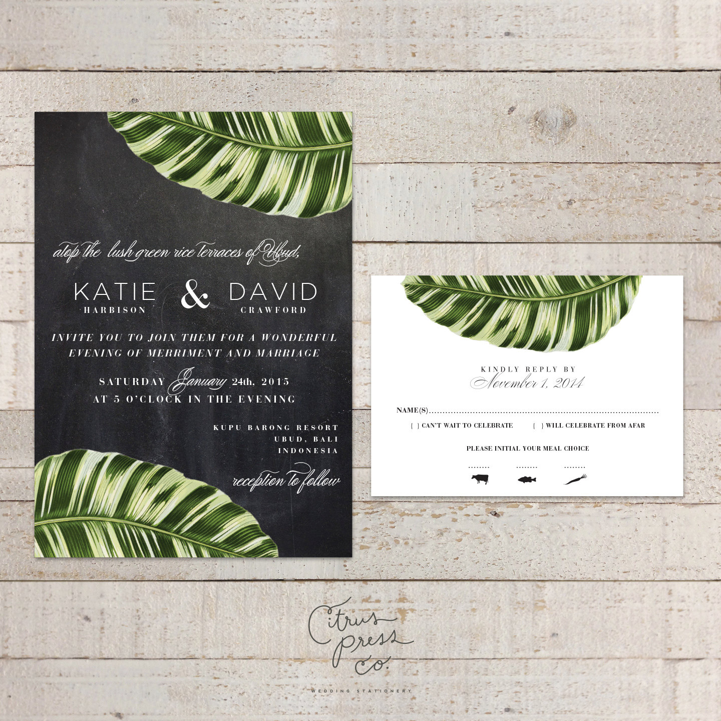 Destination Wedding Quotes For Invitations: Botanical Palm Leaf Wedding Invitation Tropical Palm Banana