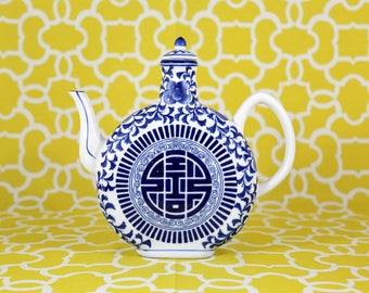 Blue and White Ceramic Teapot