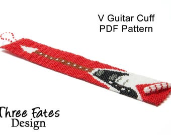 Pattern, Rock n Roll, Guitar, Seed Bead Pattern, PDF Pattern, Instant Download, Peyote