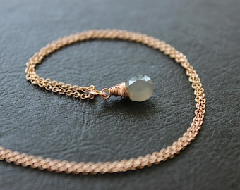 Gray Moonstone Rose Gold Necklace