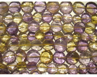 Ametrine - Ametrine Faceted Coin Shape Briolettes 6mm  - 4 Inch Strand 13 Pieces