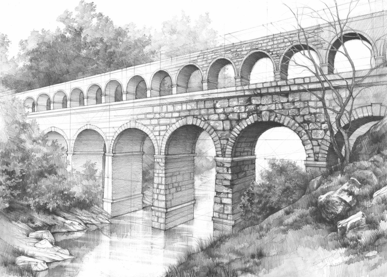 aqueduct ORIGINAL pencil drawing by Katarzyna Kmiecik / roman