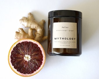 HELIOS - Blood Orange + Ginger Amber Jar Soy Candle   Minimalist Candle   Citrus Scented Candle   Eco Friendly Gift   Orange Scented Candle