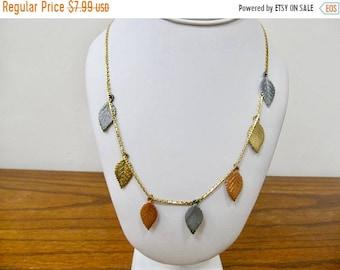 On Sale Retro Tricolored Dangling Leaf Necklace Item K # 848