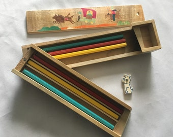 AKCO Made In Japan Pencil Box Set With Eraser Folding Box Design Includes 6 AKCO Pencils