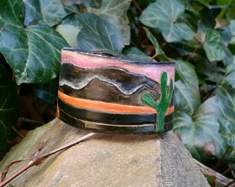 Women's Leather Cuff Bracelet, Leather Wristband, Leather Bracelet for Women, Leather Bracelets, Bookmarks, Tooled Leather, Custom Bracelet