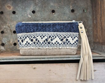 Vagabond Blue Keepsake Mini Clutch / leather fringe bohemian gypsy cosmetic bag / rustic wedding bridal bride gift / cell phone pouch
