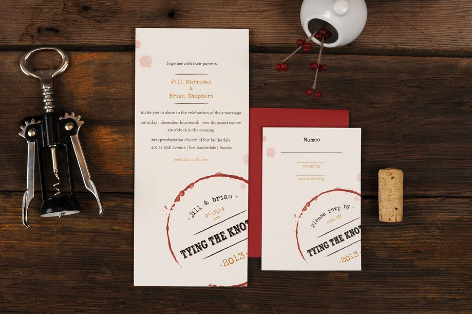 Wine Wedding Invitations Vino Stain Vineyard Oxblood Aged