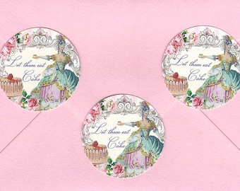 Stickers, French Style, Marie Stickers, Marie Antoinette Stickers, Let Them Eat Cake