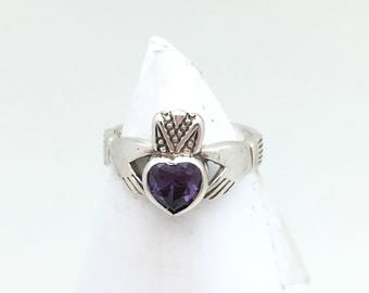 Sterling Silver Amethyst Claddagh Ring