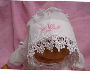 Baby hankie Handkerchief Magic Bonnet turns handkerchief for wedding Venice lace