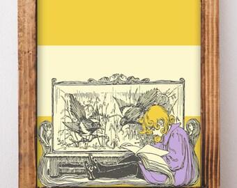 DIGITAL ART: Girl Reading Vintage Art, Literary Nursery, Girl Bedroom Wall, Gifts for readers, Girl Nursery Decor, Reader Gifts, Hygge