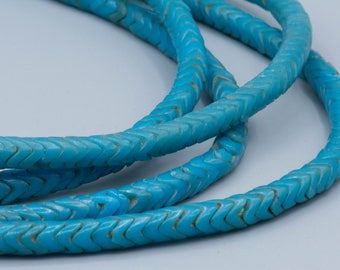"""African Trade Snake Vertebrae Beads - 80 Turquoise Snake glass tradebeads 6mm 21"""" Stand Jewelry Supplies SKU-SNTB-3"""