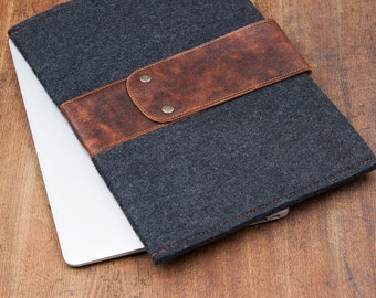 Dark Felt Razer Blade Case with leather flap. Leather Cover razer blade stealth cover bag sleeve. razer blade stealth case cover, blade pro