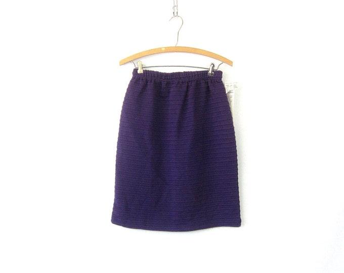 Vintage 80s Knee Skirt Basic Purple Knit Tube Skirt High Waist Miniskirt Stretch Body Con Skirt Elastic Waist Simple Skirt Medium