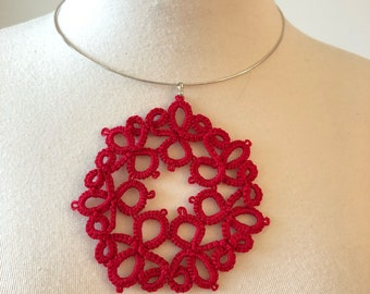 Delicate Tatted Red Pendant - Handmade lace - Free Shipping- Vintage pattern