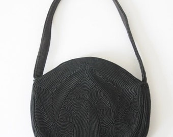 40's BLACK CLUTCH EVENING Bag  Round Corde  Purse