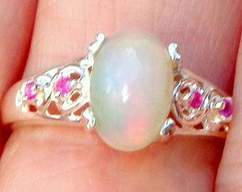 HUGE SALE, Sz 7, Welo Opal, Sterling Silver Ring, Ruby Accents, Pastel Color play Opal, Pink,Green,Lavender, Orange, Ethiopian Opal