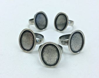 5pc Adjustable Oval Ring // 13mm x 18mm // Small // Personalize // finding // Heavy Antique // Made In The USA by Winky&Dutch