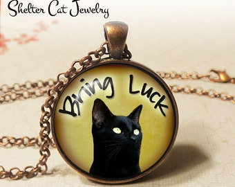 """Black Cats Bring Luck Necklace - 1-1/4"""" Circle Pendant or Key Ring - Wearable Art Photo - Curious Cat, Animal, Nature Jewelry, Cat Lover"""