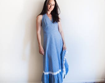 1970's Vintage Bohemian Halter Top Maxi Dress