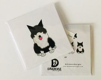 Border Collie Black White Dog Greeting card by DrawMe Designs