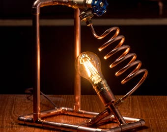 Copper Pipe Table Lamp, with Valve Switch, Steampunk, Table Lamp, Copper Lamp, LED bulb