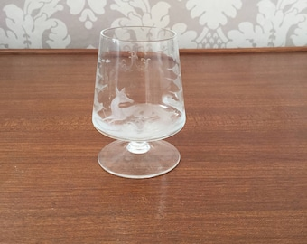Vintage 1980s Small Port Glass With Fox Etching