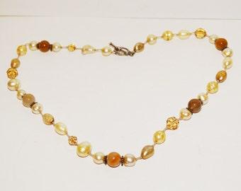 "Vintage Genuine Stones, Faceted Citrine, 17"" Pearl Necklace."