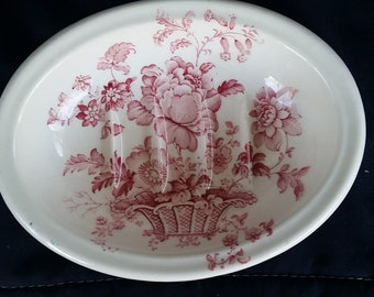 Royal Crownford Ironstone Soap Dish- Charlotte Pattern in Red