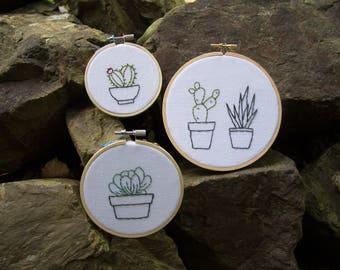 Cactus Hoop Set - 3 Hoops - Round Hoop Art - Home Decor - 5in - 4in - & 3in Hoops