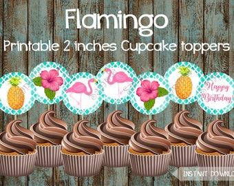 Flamingo Cupcake toppers, Luau Cupcake Toppers, Hawaiian Cupcake Toppers, Luau Birthday Party, Luau Party, Flamingo Birthday Decorations