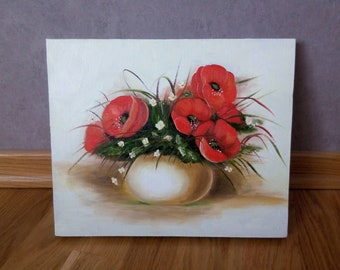 Painting Poppies, oil on canvas