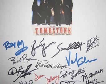Tombstone Signed Film Movie Script Screenplay X18 Autographs Charlton Heston Bill Paxton Russell Sam Elliott Val Kilmer Billy Bob Thorton