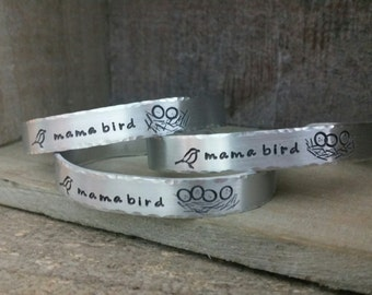 Aluminum Mama Bird Nest Cuff (Choose your number of eggs)